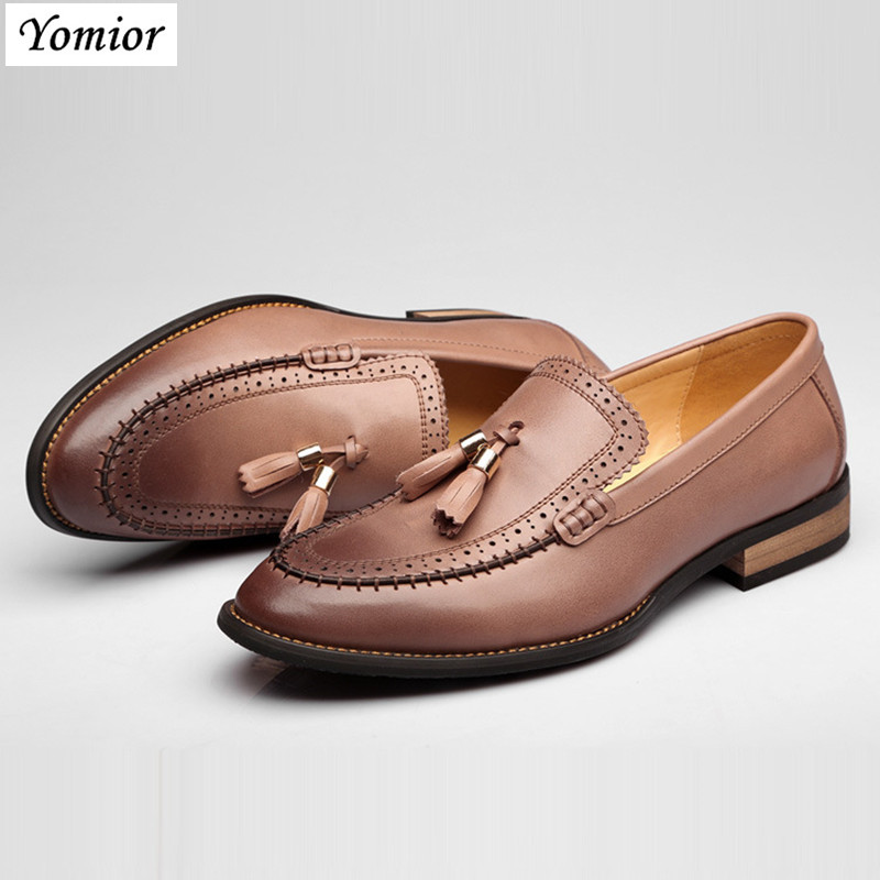Yomior Genuine Leather High Quality Men Wedding Dress Shoes Fashion Formal Business Office Suit Shoes Breathable Brogue Shoes