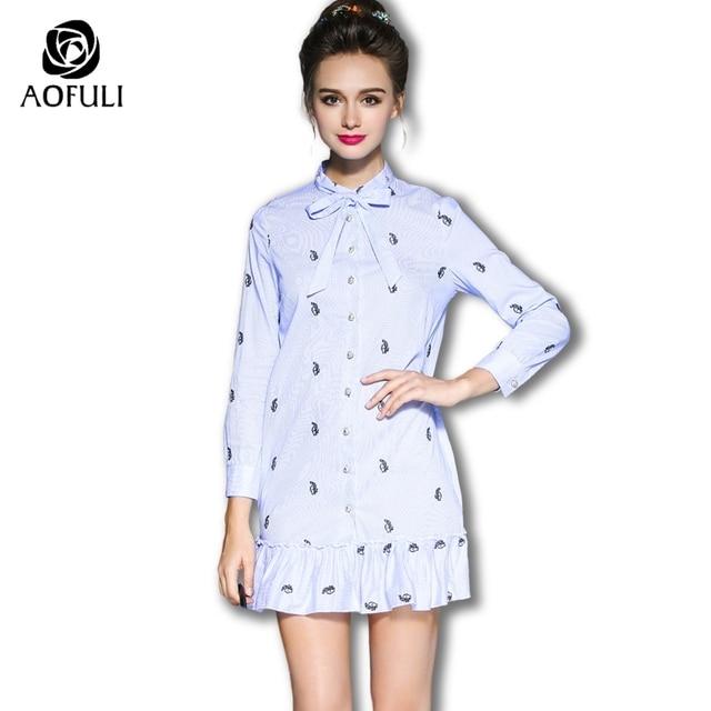 75b85fe23e8d35 S- 5XL Plus Size Women Cotton Dresses 2018 New Autumn Long Sleeve Rabbit  Embroidery Blue White Stripe Dress With Ruffles 5967