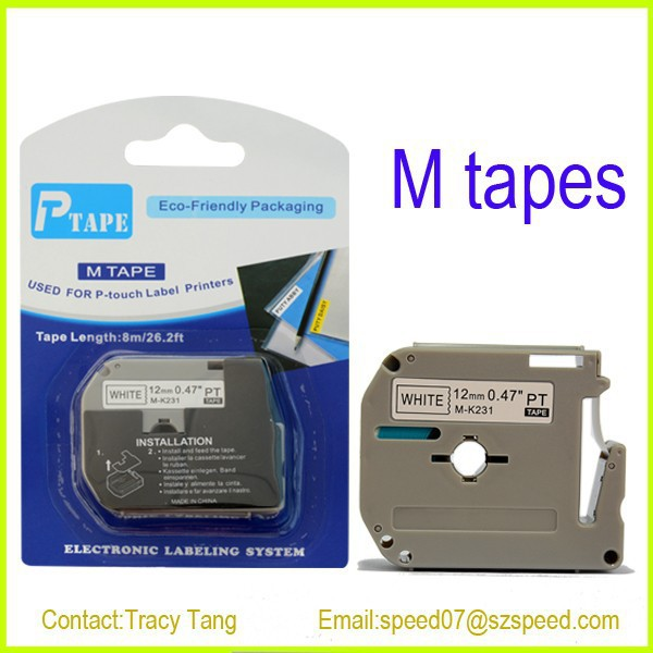 Compatible P touch M-K231 12mm label tape cartridge Black on White M tape for PT100, PT110