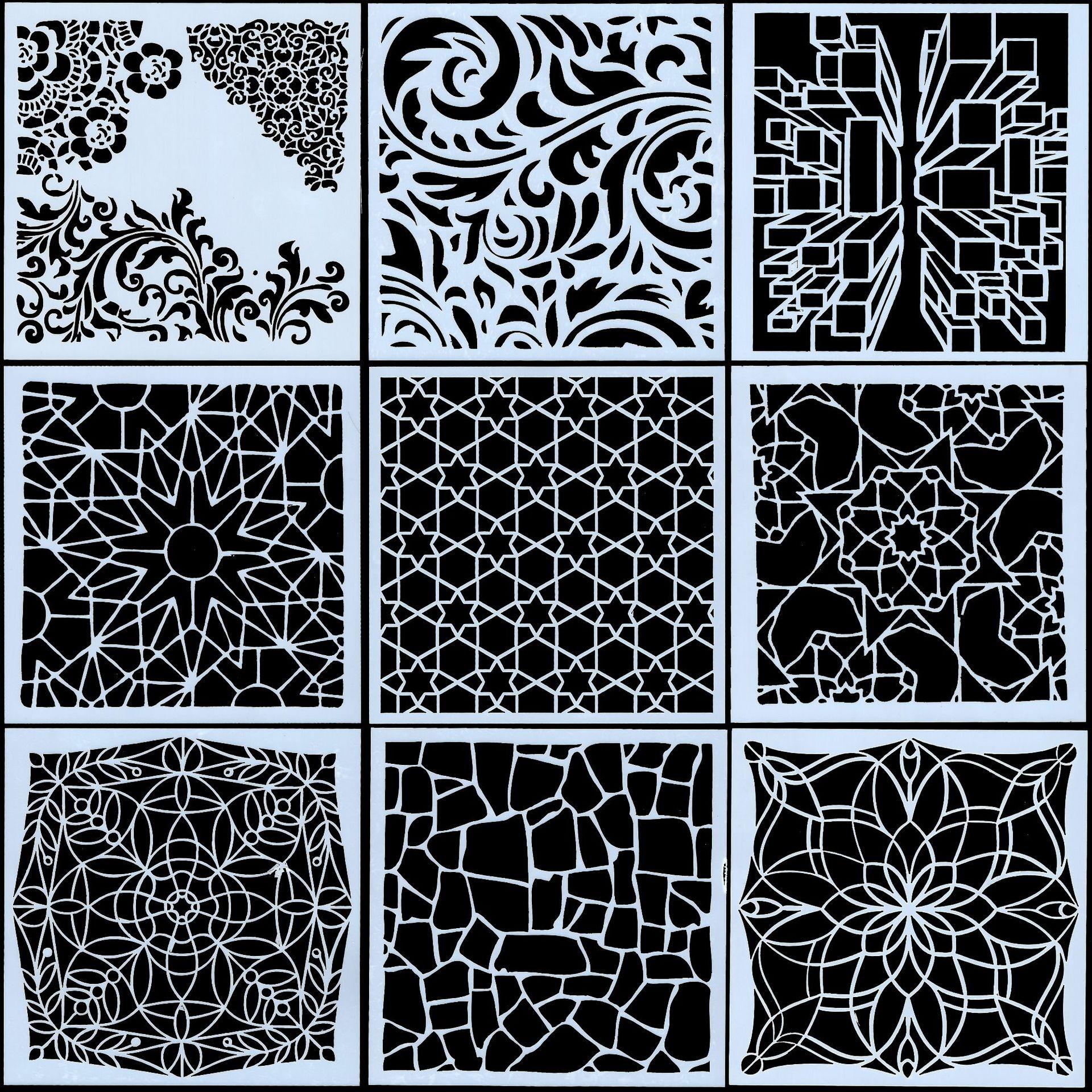 9Pcs Set 13cm Vintage Texture DIY Craft Layering Stencils Painting Scrapbooking Stamping Embossing Album Paper Card Template