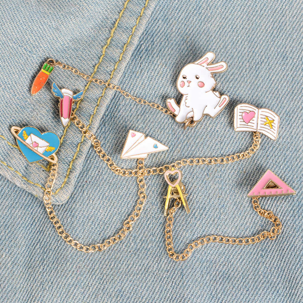Wanita Cute Rabbit Carrot Jantung Pesan Penguasa Jaket Denim Rantai Kerah Pin Bros