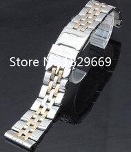 Correa de reloj de 24 mm los nuevos hombres de plata maciza de acero inoxidable pulsera venda de reloj con doble hebilla de la cerradura