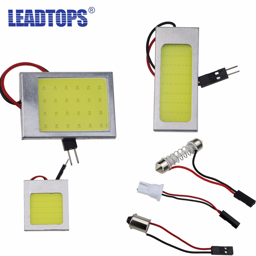 LEADTOPS T10 COB LED Panel W5W/194 Car Auto Interior Reading Map Dome Lights Lamp Bulb Festoon BA9S 3 Adapter 18 24 36 48SMD G