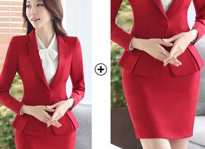 Online Shop New Fashion Red Skirt Suit Business Skirt and Blazer ...