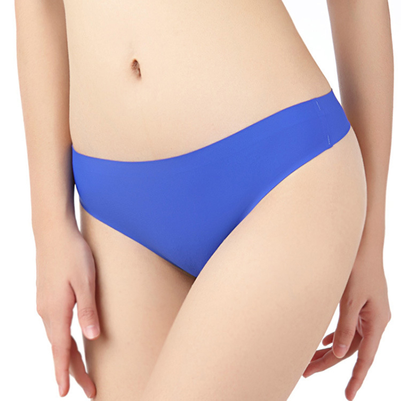 Summer Fashion Sexy Seamless Women G String Ladys Iec Skil Satin Briefs Panties for Womens Low rise Solid Underwear