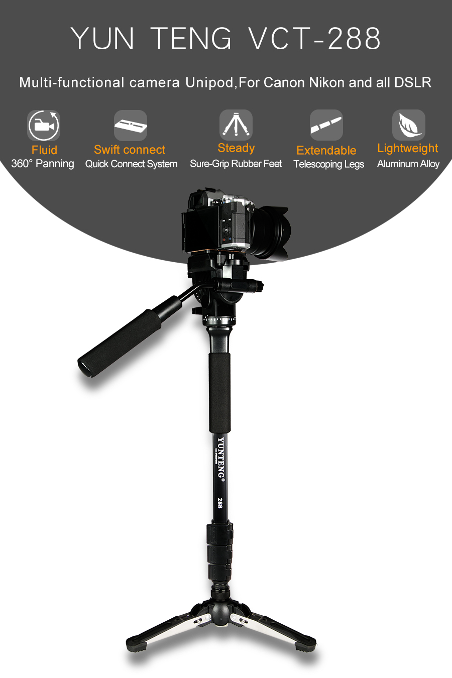 Original Yunteng VCT-288 Camera Monopod+Fluid Pan Head+Unipod Holder with 1/4 Mount Tripod For Canon For Nikon and all DSLR bullet camera tube camera headset holder with varied size in diameter
