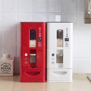 Image 2 - 測定可能な密封された米収納ボックス穀物豆小麦粉食品プラスチック容器瓶防湿バケットキッチンアイテム