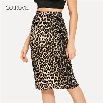 COLROVIE Leopard Print Office Jersey Skirt Women 2018 Autumn Stretchy Streetwear Sexy Midi Skirt Elegant Pencil Winter Skirts Юбка
