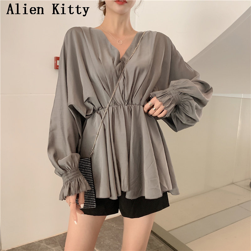 Alien Kitty New Batwing Sleeves Waist-Controlled Loose Solid Sweet Ruffles Slim V-Neck Female Fresh Elegant Shirts 3 Colors