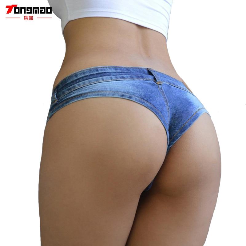 2018 Summer New Women's Fashion Casual Low Waist Denim Triangular Short Sexy Exposed Hips Shorts Women's Nightclub