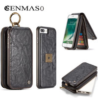 CaseME For IPhone 7 Cover Zipper Wallet Retro Leather Phone Cases Metal Ring Flip Holder Coque