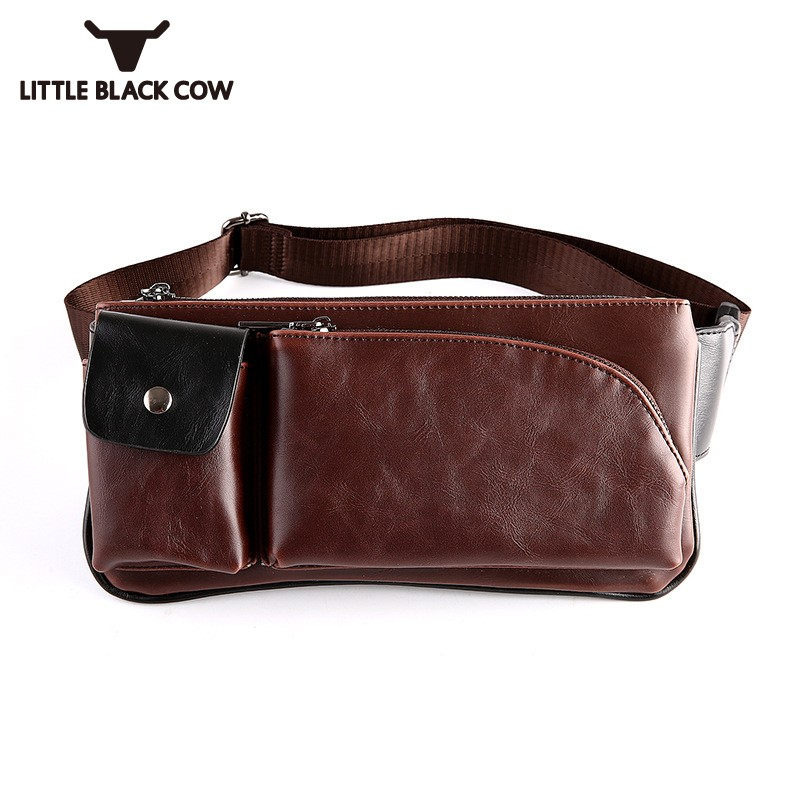 PU Leather Waist Bag For Men Motorcycle Bicycle Biker Retro Travel Waist Packs Mens Casual Korean Zipper Belt Bag Sacoche Homme