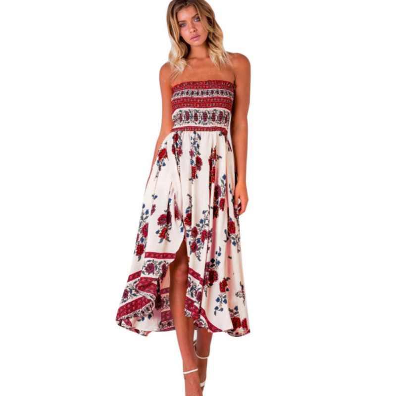 Летнее женское платье 2018, винтажное сексуальное богемное пляжное платье с цветочным рисунком, сарафан, Красное Белое платье в полоску для женщин