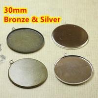 30mm ~ Antik Bronz ve Gümüş Kaplama Boş Kolye Tepsiler Üs Cameo Kabaşon Ayarı için Cam/Çıkartmalar