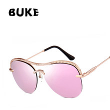 83456070ad5be BUKE Women Fashion Sun glasses Brand Design Crystal Diamond Frame Glasses  Coated Reflective Lens UV400 Retro Sun glasses 9207