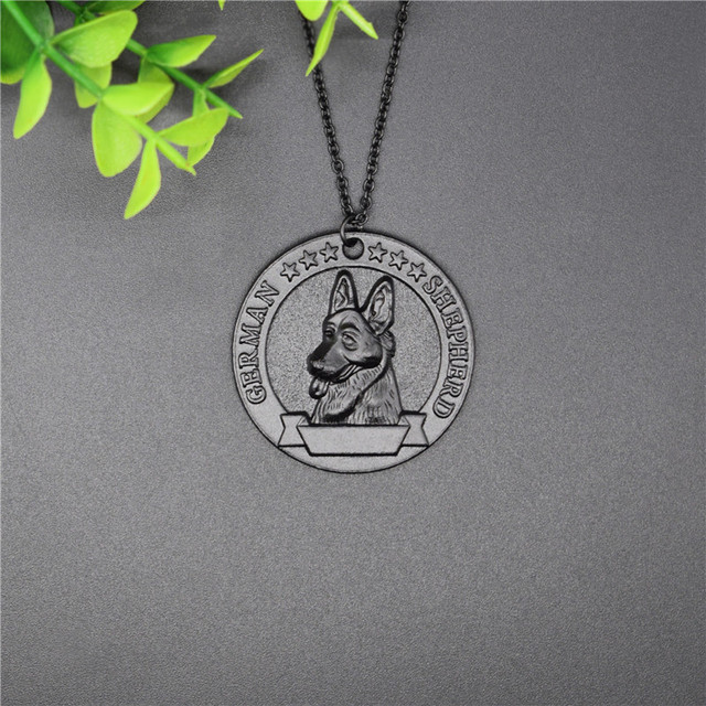 Elfin New Vintage Retro German Shepherd Necklace High Quality German Shepherd Pendant Necklace Women Pet Dog Pendant Jewelry