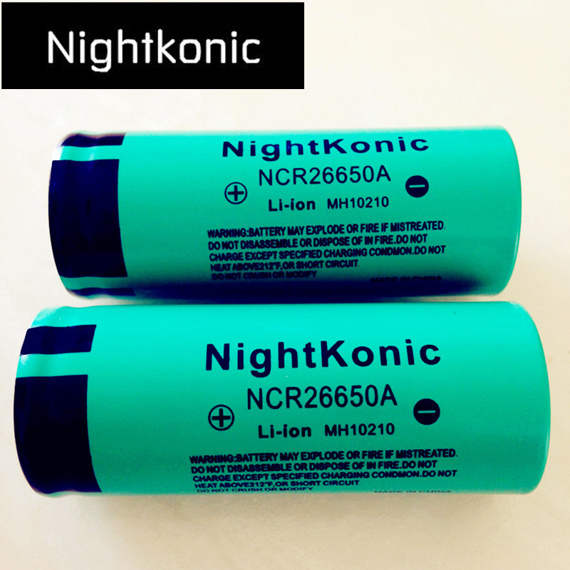 Original High Quality Nightkonic 26650 Battery 3.7V Li-ion Rechargeable Battery For LED Flashlight Torch 12 16 20pcs 3 7v inr 18350 rechargeable lithium ion battery cell 900mah for led flashlight torch and speaker