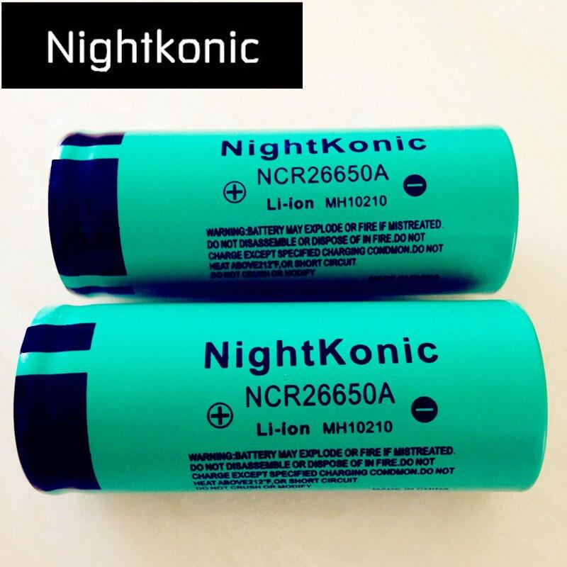 Original alta calidad Nightkonic 26650 batería 5000 mAh 3,7 V 50A Li-ion recargable para LED linterna antorcha