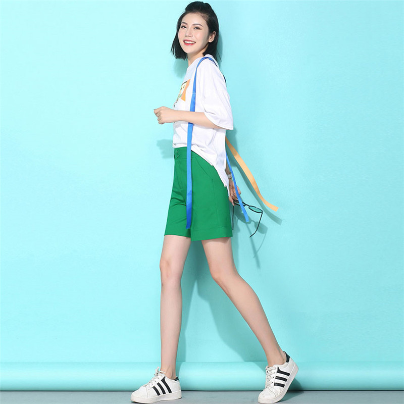 Slim Spring Summer Women Shorts Fashion Wild Casual High Waist Shorts 2019 New Large size Beach Wide Leg Shorts Women YH37