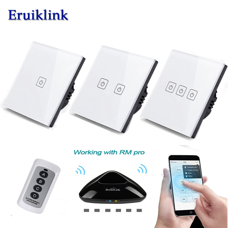 EU Wireless 1 2 3 Gang Wifi Light Switch, Smart Home Automation Κινητό τηλεχειριστήριο RF Switch Switch Panel Via Broadlink RM Pro