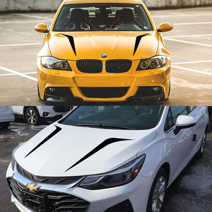 Image 4 - 2pcs 100cmx26cm Hood Cover Car Stickers Auto Vinyl Film Long Stripe Decals DIY Car Sport Styling Stickers Car Tuning Accessories