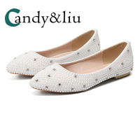 White Crystal Silver Sequin Flats Pointed To Slip on Shallow Women Shoes for Wedding Bridesmaid Party Evening Dress Girsl