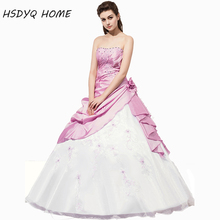 Quinceanera-Dresses Flowers Tulle Pink White And Embroidery Taffeta Blushing-Selling