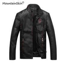 Mountainskin Mens Winter Autumn Casual Leather Jacket Fitness Motorcycle Faux Leather Bomber Jacket Male Outerwears LA766