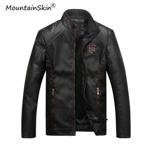 Image 1 - Mountainskin Mens Winter Autumn Casual Leather Jacket Fitness Motorcycle Faux Leather Bomber Jacket Male Outerwears LA766