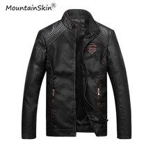 Mountainskin 男性の冬秋カジュアル革ジャケットフィットネスオートバイフェイクレザーボンバージャケット男性 Outerwears LA766