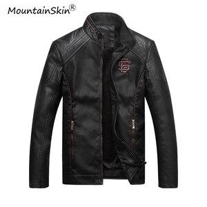 Image 1 - Mountainskin męska zimowa jesień dorywczo skórzana kurtka Fitness motocykl Faux skórzana kurtka Bomber mężczyzna Outerwears LA766
