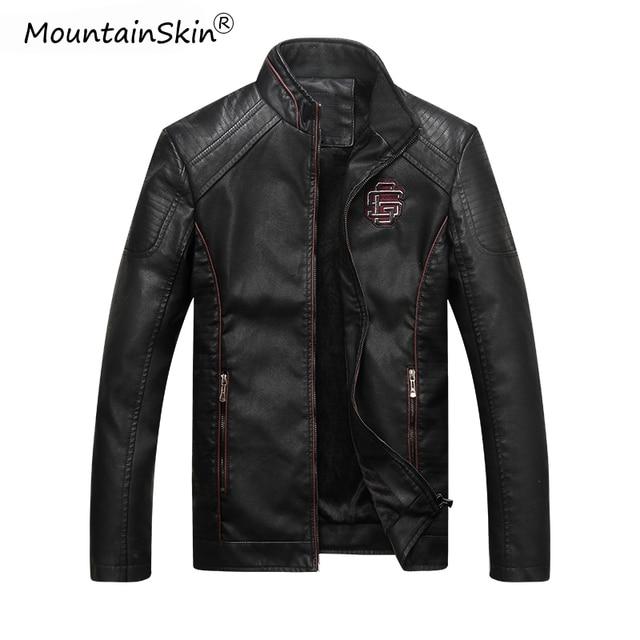 Mountainskin męska zimowa jesień dorywczo skórzana kurtka Fitness motocykl Faux skórzana kurtka Bomber mężczyzna Outerwears LA766