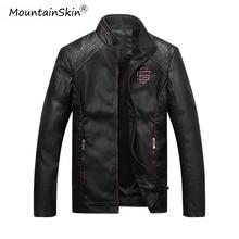 Mountainskin ผู้ชายฤดูหนาวฤดูหนาวฤดูใบไม้ร่วงเสื้อหนังลำลองฟิตเนสรถจักรยานยนต์หนัง Faux เสื้อแจ็คเก็ตชาย Outerwears LA766