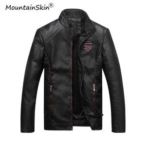 Image 1 - Mountainskin גברים של חורף סתיו מזדמן עור מעיל כושר אופנוע פו עור מפציץ מעיל זכר Outerwears LA766