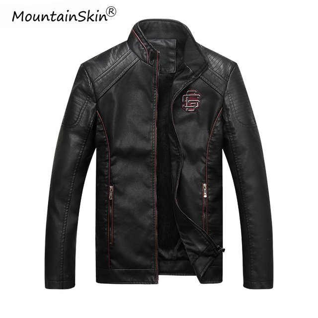 Mountainskin גברים של חורף סתיו מזדמן עור מעיל כושר אופנוע פו עור מפציץ מעיל זכר Outerwears LA766