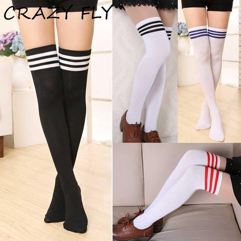 50b22e6d6 CRAZY FLY 10 Colors Fashion Women Long Socks Harajuku Warm Stripe Long Cotton  Socks Korean Style