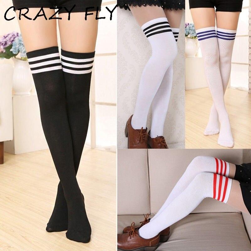 70f49ce54 CRAZY FLY 10 Colors Fashion Women Long Socks Harajuku Warm Stripe Long  Cotton Socks Korean Style Overknee Thigh High Socks 2019