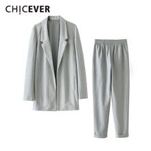 CHICEVER Autumn Ol Two Piece Set Female Lapel Collar Long Sleeve Coats Ankle-length Pants Striped Suits Female 2019 Fashion New(China)