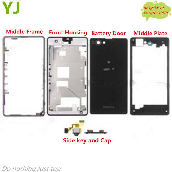 HK Free shipping for OEM Full Housing Cover Faceplate for Sony Xperia Z1 Compact D5503  with logo card cap + side key