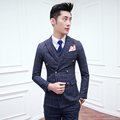 2016 Suits Mens Plaid Blue Vintage Blazer Jackets Double Breasted Terno Slim Fit Classic Groom Suit Wedding Dress Prom Gentleman