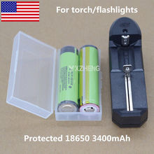 2* protected NCR18650B New Original 3400mah Rechargeable Li-ion Battery +Charger