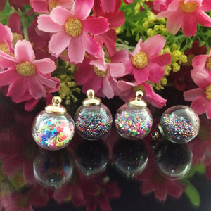 Image 2 - 6pcs/lot new arrival kawaii Fashion Wishing Crystal Glass Round Quicksand Ball Mobile Chain Key pendant diy jewelry accessory