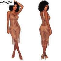 Beach Style Vestidos Tassles Sexy Club Dresses Backless Knee Length Crochet Sheer Perspective Summer Knitted Sundress 2018 Gold