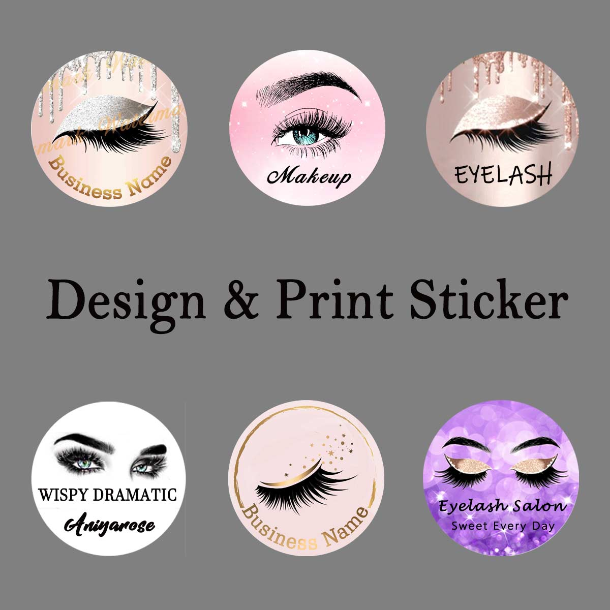 Customize Logo Edit Picture Print Sticker Professional Design and Print Servie for Eyelash Store or Beauty Salon image