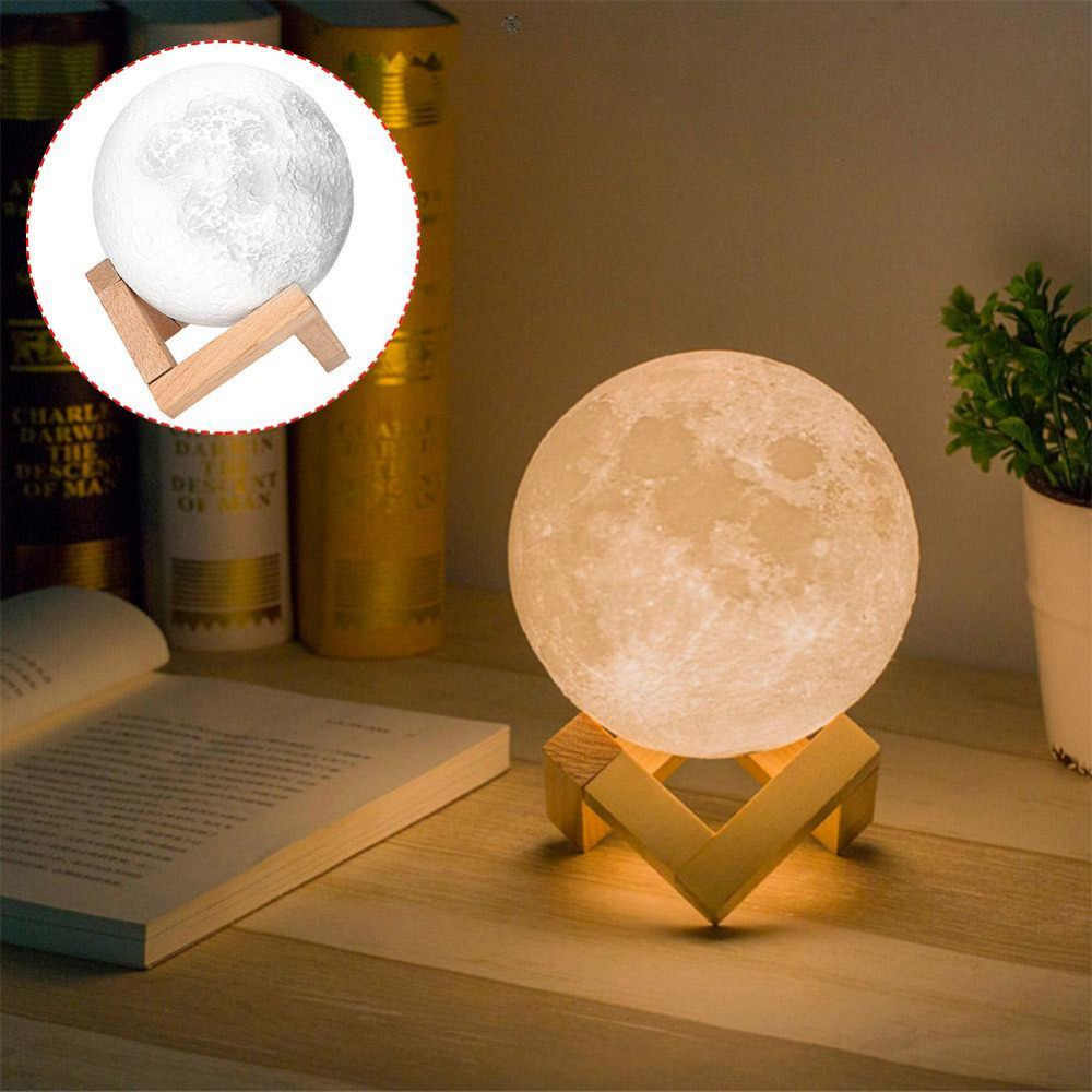 20 см диаметр 3D принт луна лампа USB светодиодный ночник лунный подарок сенсорный датчик изменение цвета ночник украшения для дома