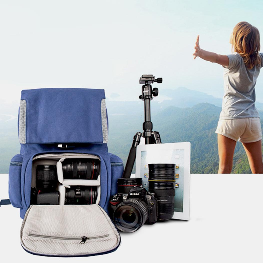Waterproof and Shockproof SLR Camera Photography Double Solid Zipper Shoulder Bag Blue Backpack