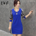M-3XL Plus size clothing long sleeve Women dress 2016 Vestidos Autumn Winter Casual Slim Printe dress