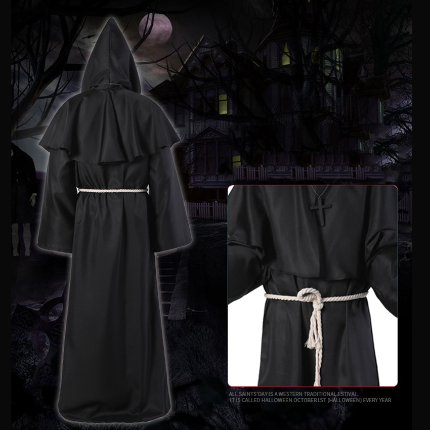 Horror Grim Reaper Costume Men Vintage Monk Cosplay Cloak Robe Scary Wizard Costume Halloween Costumes for women Dress 12