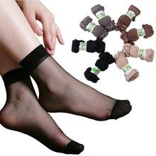 20 пар/лот, летние сексуальные ультратонкие, прозрачные шелковые носки для женщин, высокие эластичные черные прозрачные нейлоновые носки для женщин