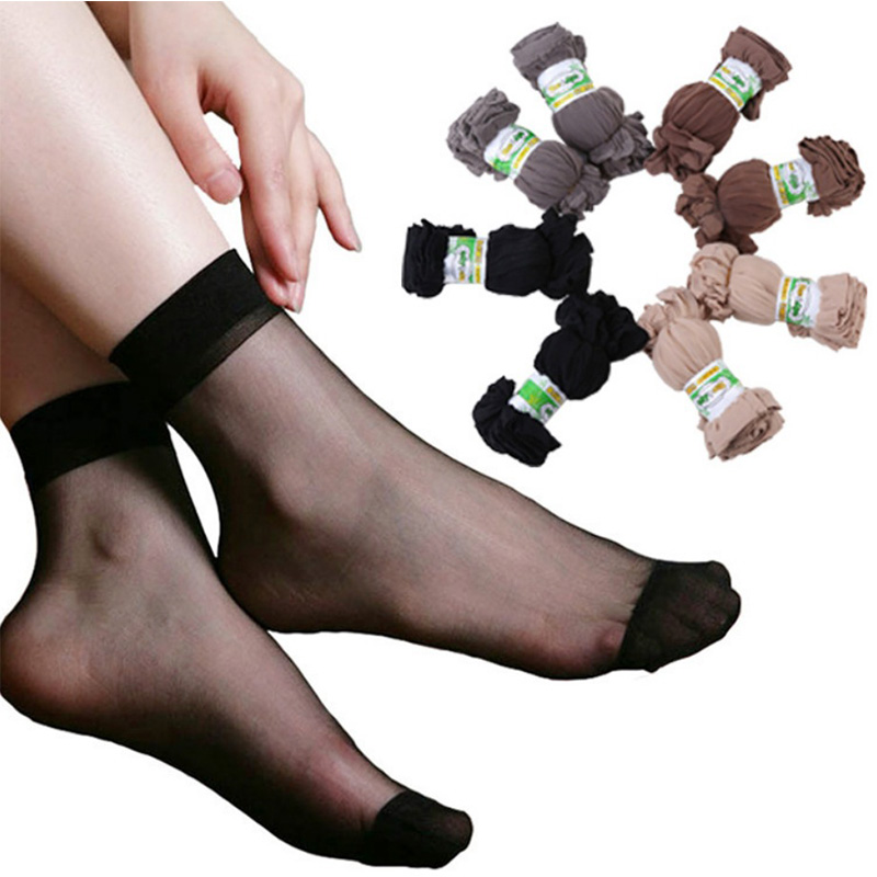 20Pairs/Lot Summer Sexy Ultrathin Crystal Silk Socks For Women High Elastic Black Transparent Nylon Socks Female